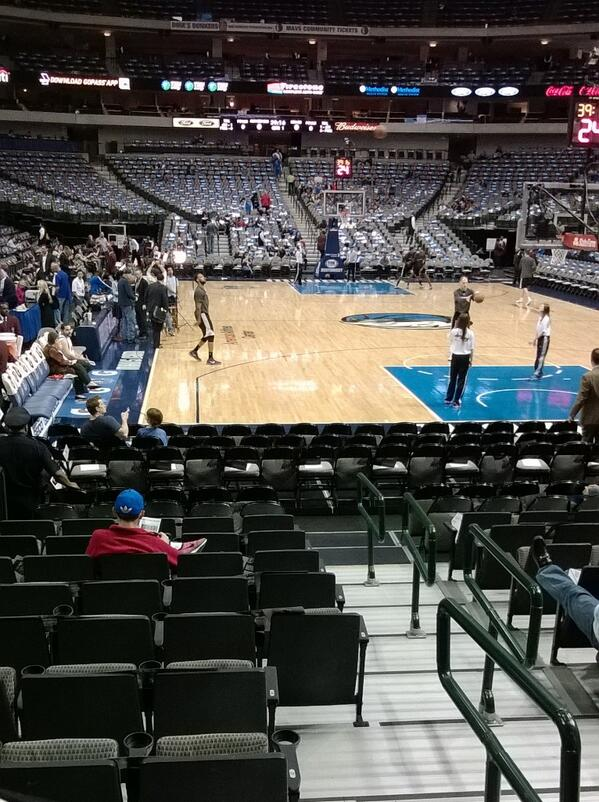 Seat view from Section 13 at the American Airlines Center, home of the Dallas Mavericks