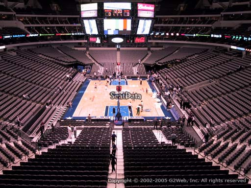 Seat view from section 201 at the American Airlines Center, home of the Dallas Mavericks