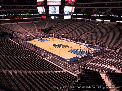 Seat view from section 205 at the American Airlines Center, home of the Dallas Mavericks