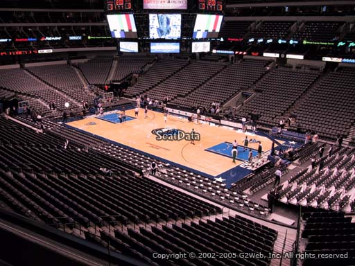 Seat view from section 206 at the American Airlines Center, home of the Dallas Mavericks