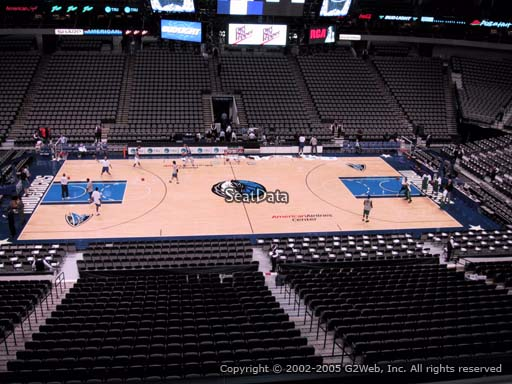 Seat view from section 210 at the American Airlines Center, home of the Dallas Mavericks