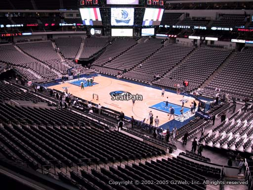 Seat view from section 214 at the American Airlines Center, home of the Dallas Mavericks