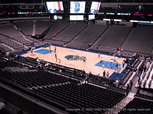 Seat view from section 215 at the American Airlines Center, home of the Dallas Mavericks