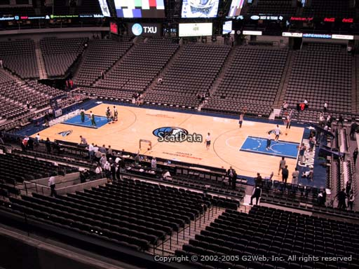 Seat view from section 216 at the American Airlines Center, home of the Dallas Mavericks