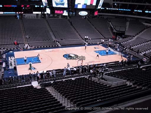 Seat view from section 219 at the American Airlines Center, home of the Dallas Mavericks