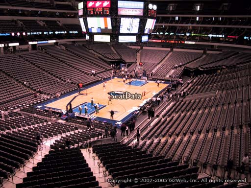 Seat view from section 223 at the American Airlines Center, home of the Dallas Mavericks