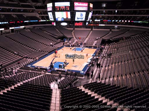 Seat view from section 224 at the American Airlines Center, home of the Dallas Mavericks