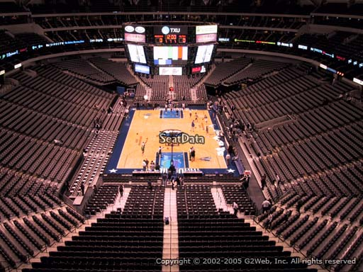 Seat view from section 301 at the American Airlines Center, home of the Dallas Mavericks