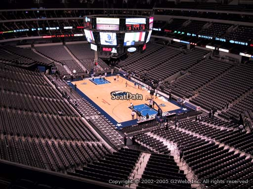 Seat view from section 304 at the American Airlines Center, home of the Dallas Mavericks