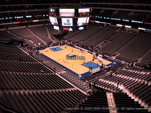 Seat view from section 305 at the American Airlines Center, home of the Dallas Mavericks