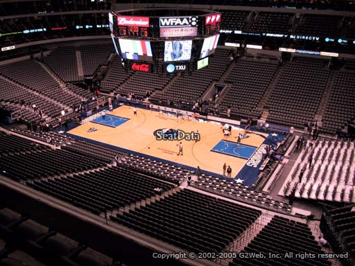 Seat view from section 307 at the American Airlines Center, home of the Dallas Mavericks
