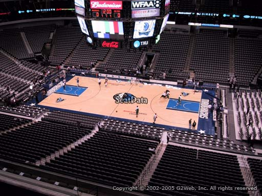 Seat view from section 308 at the American Airlines Center, home of the Dallas Mavericks