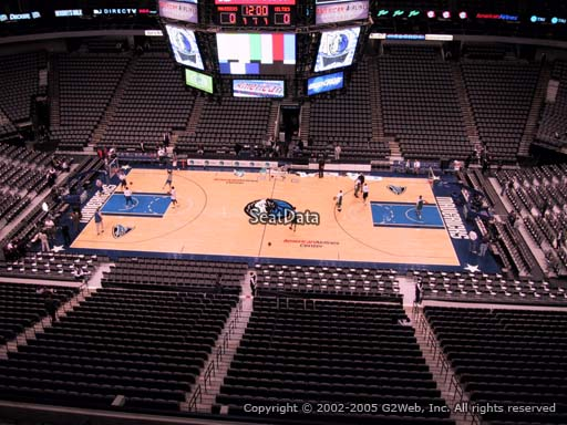 Seat view from section 309 at the American Airlines Center, home of the Dallas Mavericks