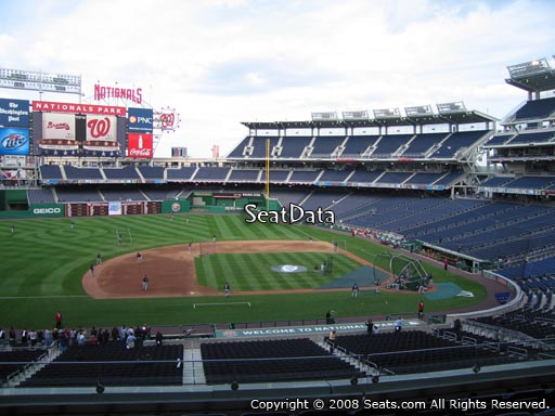 Seat view from section 208 at Nationals Park, home of the Washington Nationals