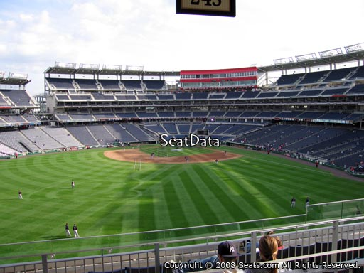 Seat view from section 245 at Nationals Park, home of the Washington Nationals