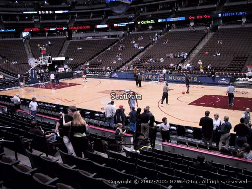 Seat view from section 122 at the Pepsi Center, home of the Denver Nuggets