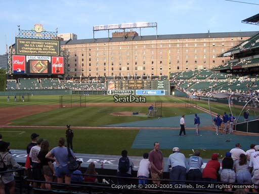 Seat view from section 48 at Oriole Park at Camden Yards, home of the Baltimore Orioles