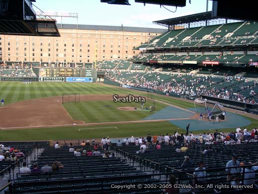 Seat view from section 55 at Oriole Park at Camden Yards, home of the Baltimore Orioles