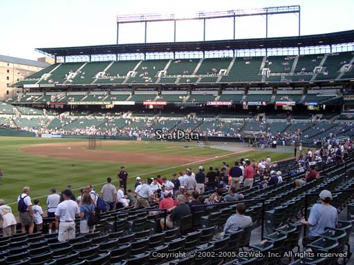 Seat view from section 64 at Oriole Park at Camden Yards, home of the Baltimore Orioles
