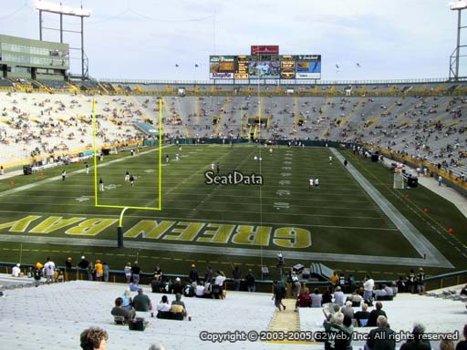 Seat view from section 102 at Lambeau Field, home of the Green Bay Packers