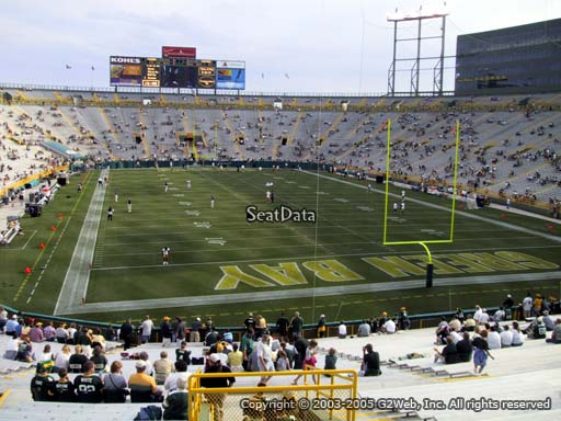 Seat view from section 103 at Lambeau Field, home of the Green Bay Packers