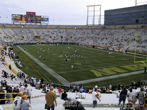 Seat view from section 105 at Lambeau Field, home of the Green Bay Packers