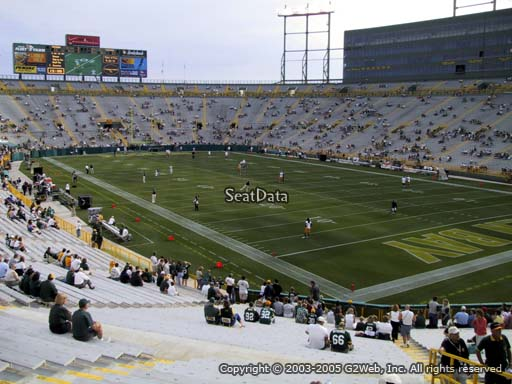 Seat view from section 107 at Lambeau Field, home of the Green Bay Packers
