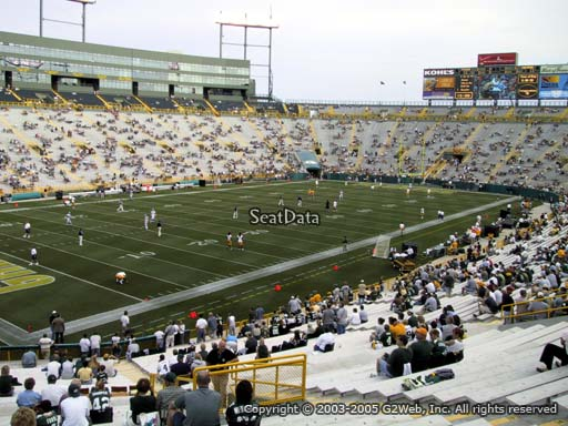 Seat view from section 108 at Lambeau Field, home of the Green Bay Packers