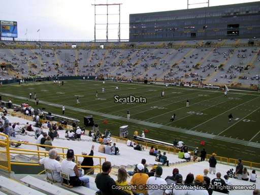 Seat view from section 111 at Lambeau Field, home of the Green Bay Packers