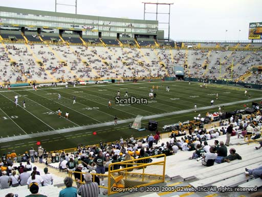 Seat view from section 112 at Lambeau Field, home of the Green Bay Packers
