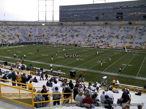 Seat view from section 113 at Lambeau Field, home of the Green Bay Packers
