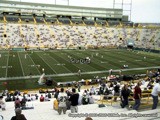 Seat view from section 116 at Lambeau Field, home of the Green Bay Packers