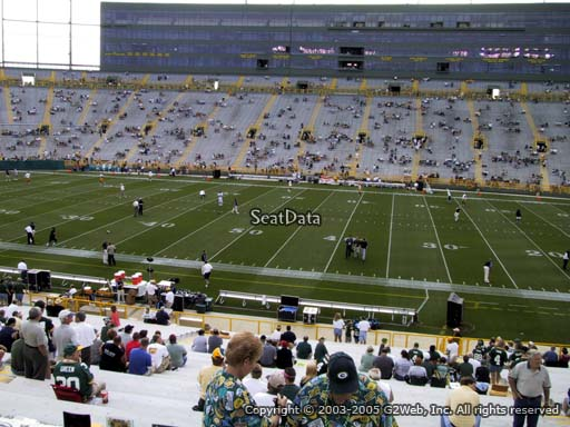 Seat view from section 117 at Lambeau Field, home of the Green Bay Packers