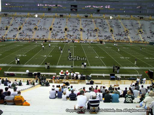 Seat view from section 119 at Lambeau Field, home of the Green Bay Packers