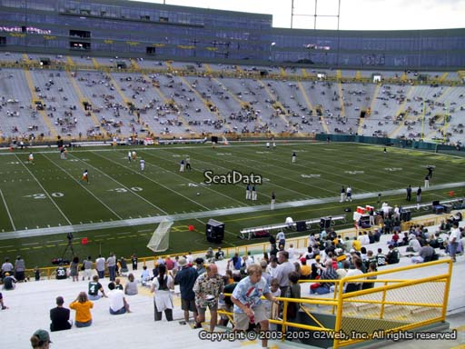 Seat view from section 125 at Lambeau Field, home of the Green Bay Packers