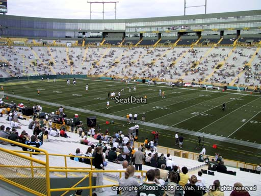 Seat view from section 128 at Lambeau Field, home of the Green Bay Packers