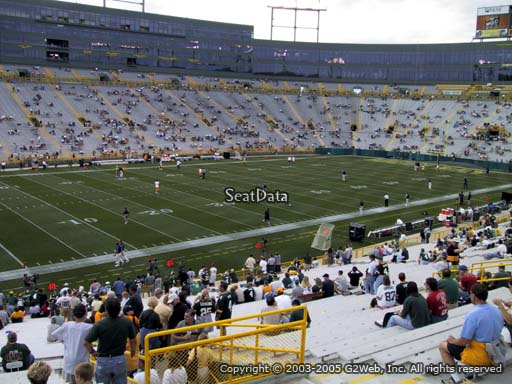 Seat view from section 129 at Lambeau Field, home of the Green Bay Packers