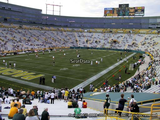 Seat view from section 133 at Lambeau Field, home of the Green Bay Packers