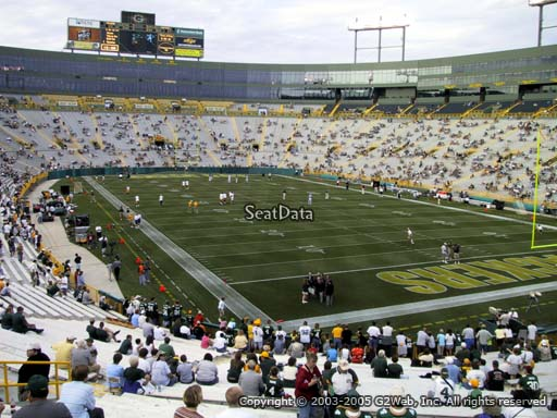 Seat view from section 134 at Lambeau Field, home of the Green Bay Packers