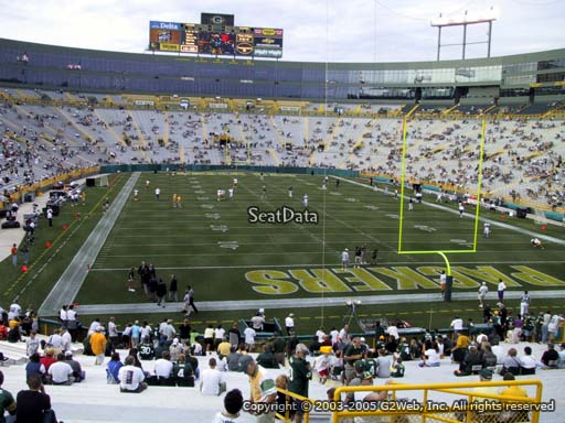 Seat view from section 136 at Lambeau Field, home of the Green Bay Packers