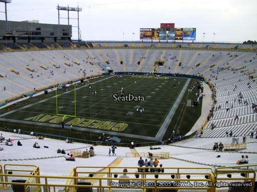 Seat view from section 304 at Lambeau Field, home of the Green Bay Packers