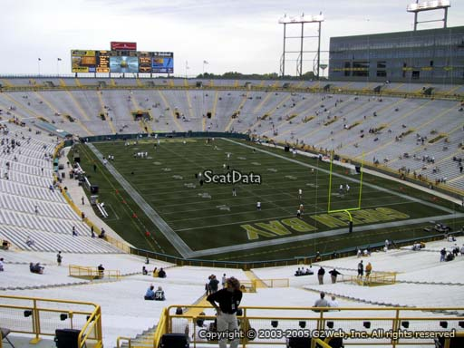 Seat view from section 305 at Lambeau Field, home of the Green Bay Packers