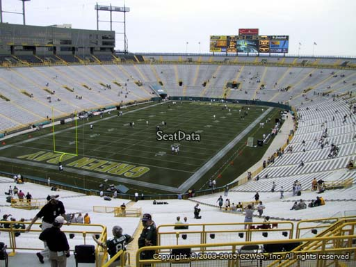 Seat view from section 306 at Lambeau Field, home of the Green Bay Packers