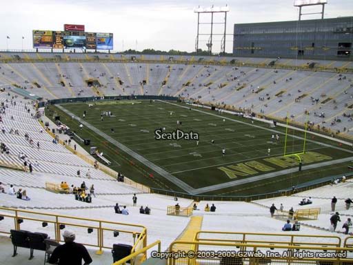 Seat view from section 307 at Lambeau Field, home of the Green Bay Packers