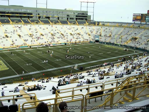 Seat view from section 316 at Lambeau Field, home of the Green Bay Packers