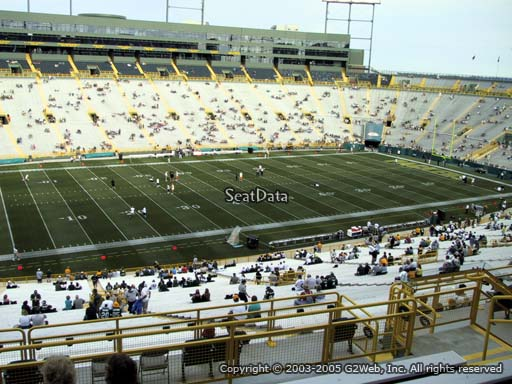 Seat view from section 318 at Lambeau Field, home of the Green Bay Packers