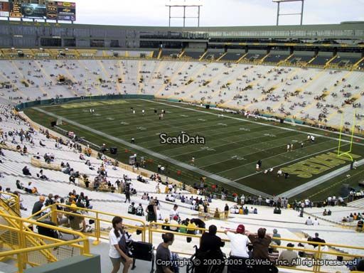 Seat view from section 340 at Lambeau Field, home of the Green Bay Packers