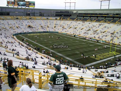 Seat view from section 342 at Lambeau Field, home of the Green Bay Packers