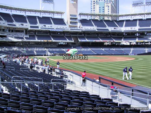 Seat view from section 121 at Petco Park, home of the San Diego Padres