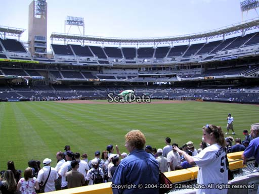 Seat view from section 134 at Petco Park, home of the San Diego Padres